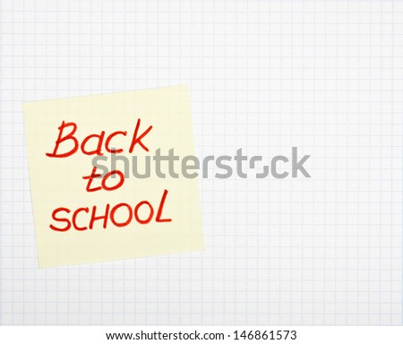 Writing-book with back to school text - stock photo