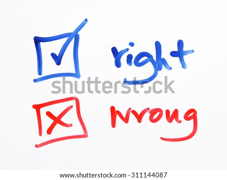 writing check box wrong or right on white background - stock photo