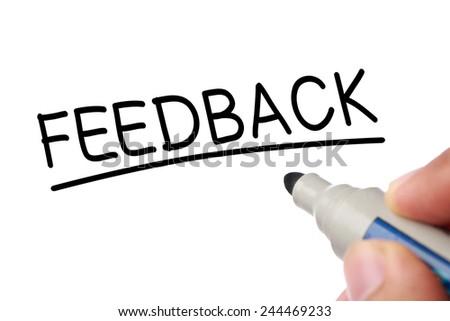 Writing Feedback concept isolated on white background. - stock photo