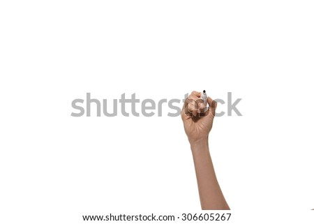 Writing. Hand holding a pen. - stock photo