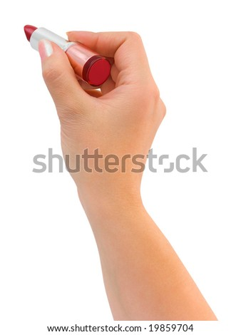 Writing hand with lipstick isolated on white background - stock photo