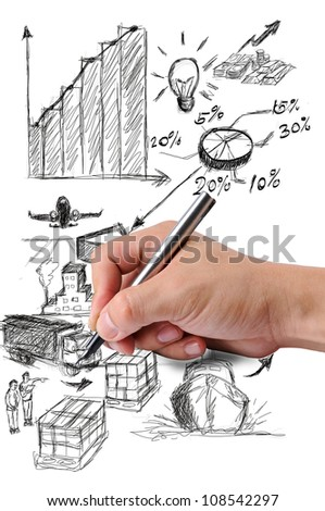 Writing logistic concept with white board - stock photo