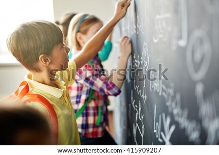 Writing on blackboard - stock photo