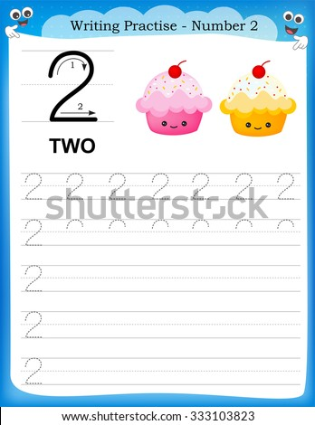 Writing practice number two printable worksheet for preschool / kindergarten kids to improve basic writing skills - stock photo