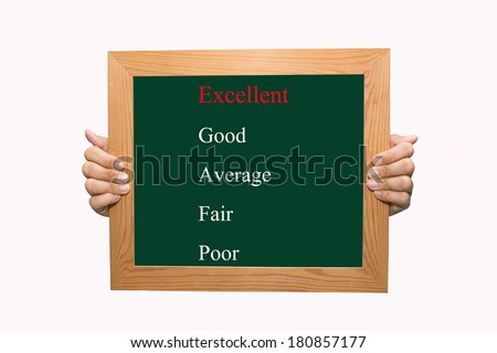 Writing selecting excellent evaluation concept - stock photo