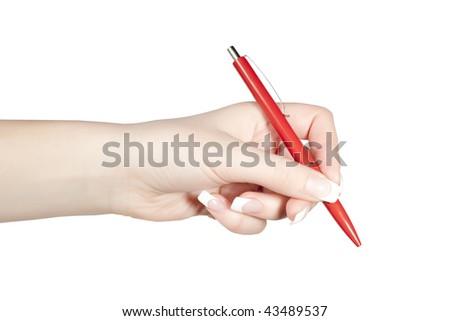 Writing with pen - stock photo