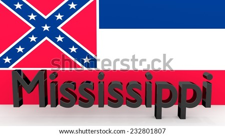 Writing with the name of the US state Mississippi made of dark metal  in front of state flag - stock photo