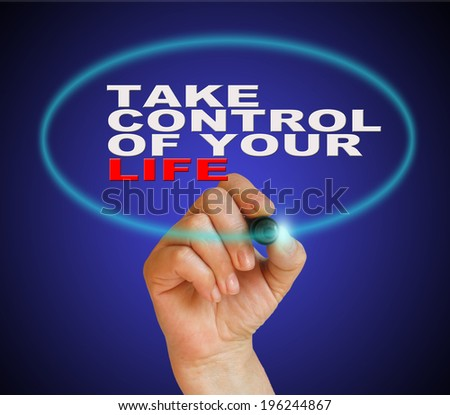 writing  words  Take Control Of Your Life on gradient background made in 2d software - stock photo