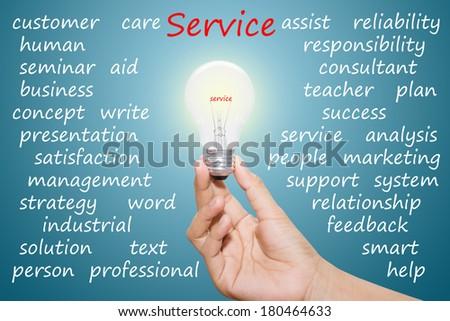 Written service in the light bulb  - stock photo