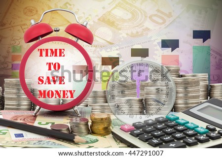 Written word time to save money on a clock with compass ,coins and Calculator on money banknotes Euro and Dollars,concept of business planning and finance and savings - stock photo