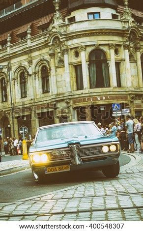 Wroclaw- August 18: Pontiac Bonneville on Motoclassic show on vintage effect  in Wroclaw, Poland on August 18, 2014. - stock photo