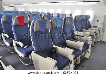 WROCLAW, POLAND - AUGUST 4: Interior of the New Boeing 787 Dreamliner during a training flight from Bydgoszcz to Wroclaw on August 4, 2013 in Wroclaw, Poland.  - stock photo