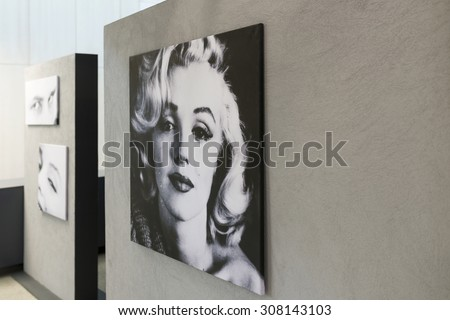 """WROCLAW, POLAND - JULY 19: An exhibition of photographs Milton. H. Green's """"Good Morning Marilyn"""" on 19 July 2015 in Wroclaw, Poland. The photos were bought at DESA auction by Wroclaw Enterprise Hala Ludowa. - stock photo"""