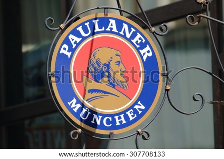 WROCLAW, POLAND - JULY 06, 2015: Paulaner is a German brewery, established in 1634 in Munich. Paulaner ranks number 8 among Germany's best selling breweries. - stock photo