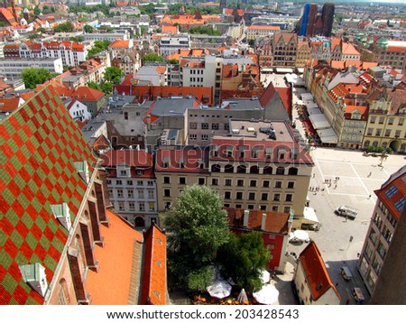 WROCLAW, POLAND - JUNE 07: Market square in Wroclaw, Poland, the view from the top of the tower of the church of Saint Elizabeth. Wroclaw, Poland June 07, 2013  - stock photo