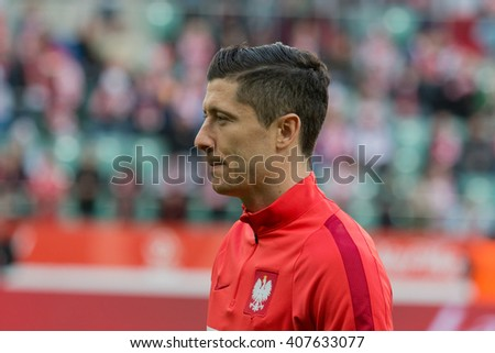 WROCLAW, POLAND - MARCH 26, 2016: Robert Lewandowski (Poland) before the friendly football match between Poland and Finnland at the Municipal Stadium in Wroclaw. - stock photo