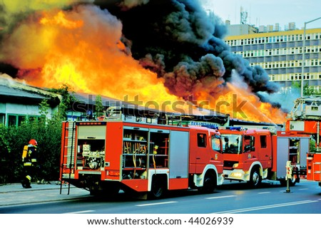 WROCLAW, POLAND - MAY 04: Firefighters are putting out big fire in the city, May 04, 2008 in Wroclaw, Poland - stock photo