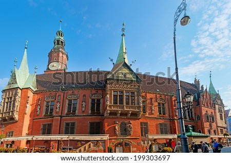 WROCLAW, POLAND - SEPTEMBER 25, 2010: The best place to get enjoy from the local beer is  the old Brewery Pivnica Swidnicka, located in Old Town Hall next to flower market, on September 25 in Wroclaw. - stock photo