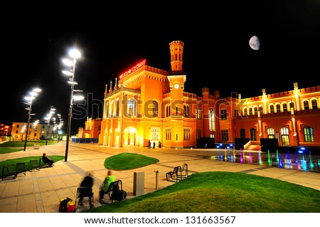 Wroclaw Railway Station main building at night - stock photo
