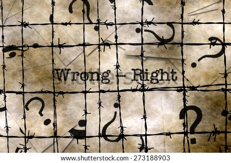 Wrong - right concept - stock photo