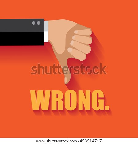 Wrong thumbs down flat design.  - stock photo