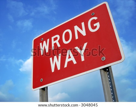 wrong way sign - stock photo