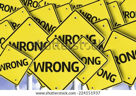 Wrong written on multiple road sign - stock photo