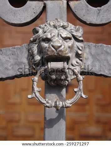 Wrought Iron Door with Lion knocker in sunny day - stock photo