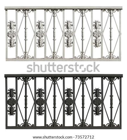 Wrought iron fence set - stock photo