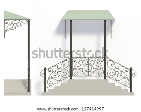 Wrought iron stairs railing and canopy with green roof - stock photo