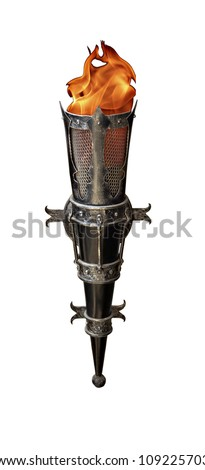 wrought-iron torch - stock photo