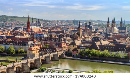 Wuerzburg City Panorama. Medieval City with famous church towers in Bavaria near Munich - stock photo