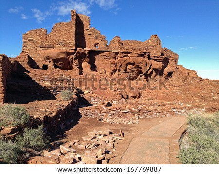Wupatki Pueblo in Wupatki National Monument in Arizona - stock photo