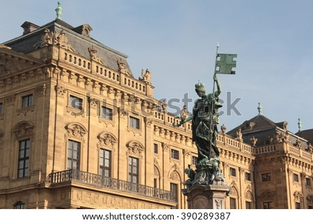 Wurzburg, Germany 28 December 2015 Wurzburg residence palace and statue Fountain, Germany - stock photo