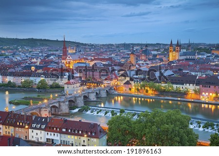 Wurzburg. Image of Wurzburg with Main River during twilight blue hour. - stock photo