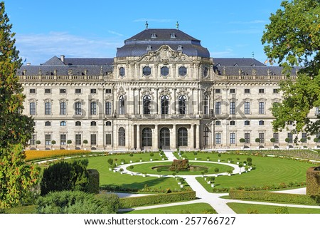 Wurzburg Residence and Court Gardens in Wurzburg, Germany - stock photo