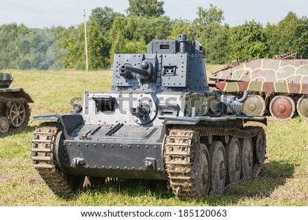WW2 German Panzer 38 (t) light tank at the summer (black and white) - stock photo