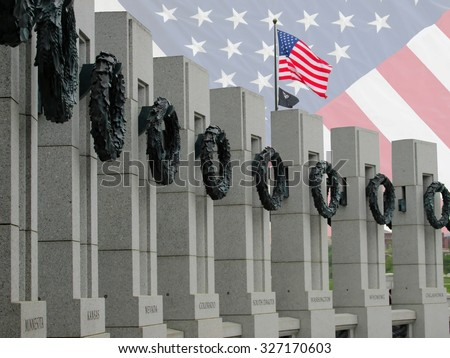 WW II memorial in washington DC showing state column posts for  nevada, colorado, south dakota, washington and kansas - stock photo
