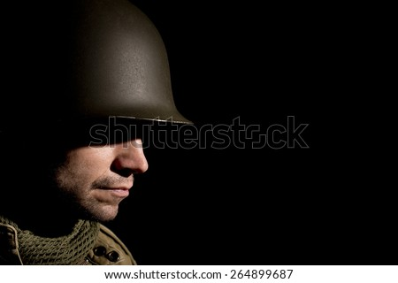 WW2 US Soldier With PTSD - stock photo
