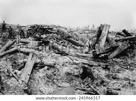 WWI. German trenches churned by British artillery shells. Big guns and massive shells turned the battlefields into wastelands. Western Front, ca. 1915-18. - stock photo