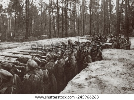WWI. Russian forces in a trench on one of the thickly wooded plateaus in the foot hills of the Carpathians where fighting took place in their attempt to cross into Hungary. Ca. 1916-17. - stock photo