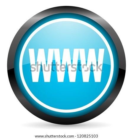 www blue glossy circle icon on white background - stock photo