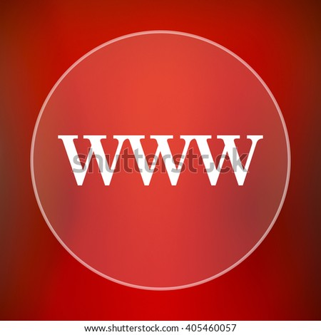 WWW icon. Internet button on red background. - stock photo