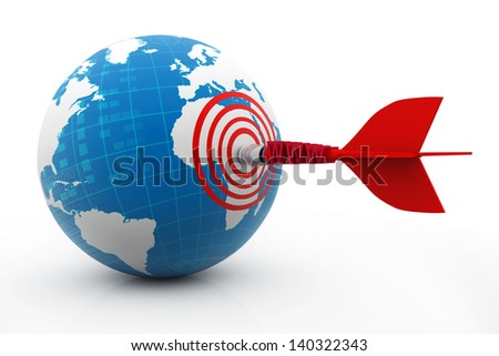 WWW letters arrow with a target and one arrow hitting the world center - stock photo