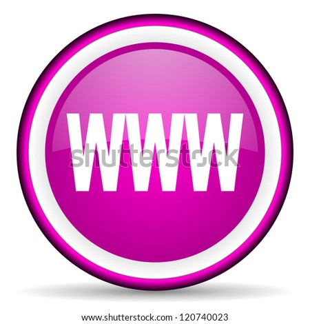 www violet glossy icon on white background - stock photo