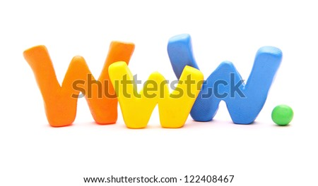 WWW - webwords of plasticine letters standing isolated on white - stock photo