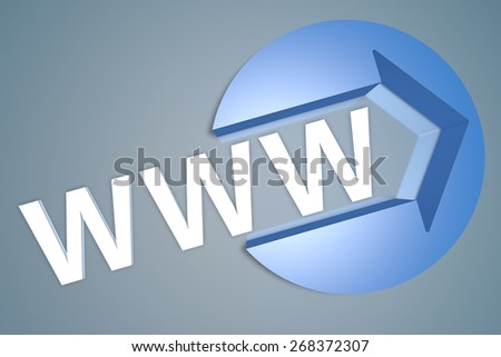 WWW - World Wide Web - 3d text render illustration concept with a arrow in a circle on blue-grey background - stock photo