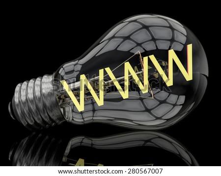 WWW - World Wide Web - lightbulb on black background with text in it. 3d render illustration. - stock photo