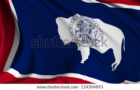 Wyoming flag - USA state flags collection no_3 - stock photo