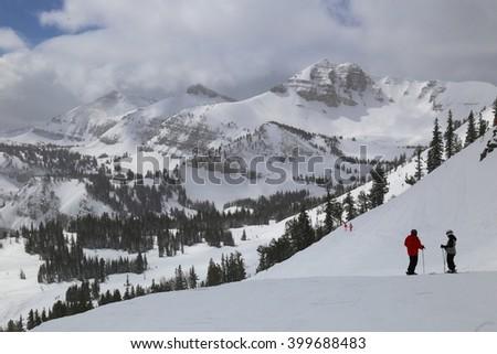 Wyoming skiing - stock photo